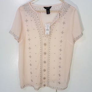 WHBM pale pink indian inspired embroidered top